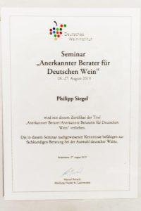 Berater-Urkunde-Wein